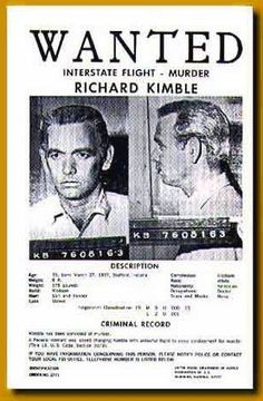 Wanted Poster for Dr. Richard Kimble (David Janssen) in The Fugitive (1963-67, ABC)