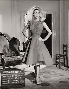 No title (Ava Gardner in wardrobe still for On the beach: Dwight's cabin) The waist and skirt are divine...