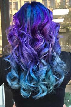 24 Blue And Purple Hair Looks That Will Amaze You Beautiful Ombre With Blue And Purple Colors galaxies with blue and purple hair color ideas. Pick a light pastel option or bright ombre, mermaid hair, or highligh Cute Hair Colors, Pretty Hair Color, Beautiful Hair Color, Hair Color Purple, Hair Dye Colors, Purple Colors, Fun Hair Color, Galaxy Hair Color, Vivid Hair Color