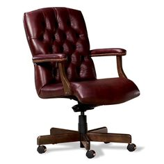 Tufted Leather Executive Office Swivel Chair In Mahogany By Fairfield Chair