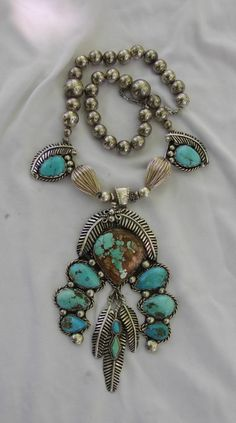Handmade Artisan Sterling Silver and Turquoise Squash Blossom Necklace