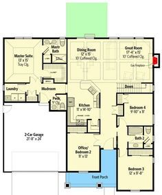 Plan 770016ced 3 Bedroom Traditional Craftsman Home Plan With Private Office Bedroom Floor Plans Barndominium Floor Plans Craftsman House Plans