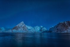 a moonlight serenade with a taste of northern light over the reinefjorden on the lofoten islands Lofoten, Moonlight, Mount Everest, Northern Lights, Mountains, Islands, Nature, Travel, Photos