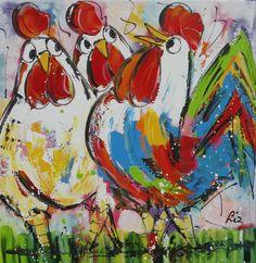 kippen - www.vrolijkschilderij.nl