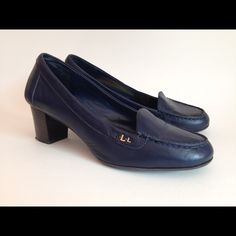 """Ralph Lauren Loafers Super Comfy Ralph Lauren Navy Blue Leather Loafer with Brown Heel. In Good Condition. Some Scuff Marks and the """"R"""" Letter Fell Off. Still a Great Shoe. Ralph Lauren Shoes Flats & Loafers"""