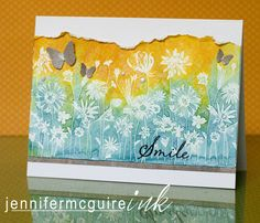 Heat emboss resist on watercolor paper with Wild Honey and Broken China Distress Ink -- by Jennifer McGuire --- Video tutorial here: www.jennifermcgui...