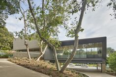 Being challenged on a sloping site, Belzberg Architects have transformed Bridge Residence into an opportunity to stir up lonely exile by making big statements. Contemporary Architecture, Landscape Architecture, Interior Architecture, Interior Design, Villas, L Shaped House, California Architecture, Stone Siding, Live Oak Trees