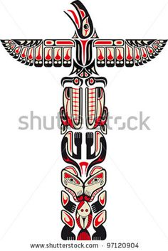 Haida style totem pattern created with animal images. Vector illustration fit for tattoo. - stock vector