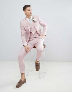 DESIGN wedding skinny suit jacket in pink cross hatch with printed lining - 2019 Prom - Mens Fashion Suits, Mens Suits, Men's Fashion, Fashion Guide, Fashion Blogs, High Fashion, Fashion Online, Fashion Ideas, Wedding Outfits