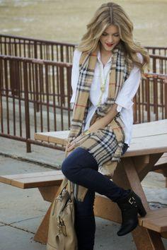 Burberry-esque wrap, white button up, jeans
