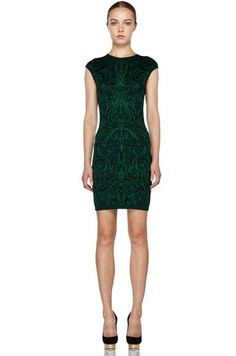 Alexander Mcqueen Cap Sleeve Mini Dress In Bottle Green
