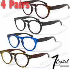 6d9843c7eed0 4 Pairs Round Power Clear Lens Women Mens Retro Vintage Reader Reading  Glasses