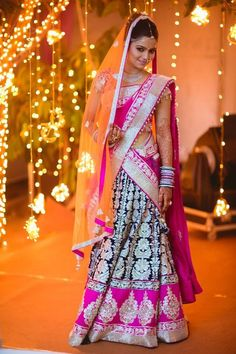 orange veil with pink and blue saree... #indian #wedding #dresses