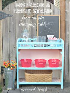 Great party drink stand using an old changing table--awesome DIY and idea for parties, weddings, showers. Furniture Projects, Furniture Makeover, Diy Furniture, Diy Projects, Children Furniture, Toddler Furniture, Vintage Furniture, Repurposed Furniture, Painted Furniture