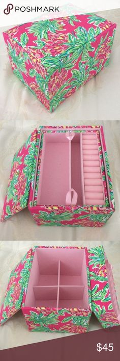 Lilly Pulitzer Jewelry Box Print is Spike the Punch! These boxes are no longer sold by Lilly. Can hold a ton of jewelry! Good condition. Felt lining inside to help keep the jewelry from tarnishing. Lilly Pulitzer Jewelry