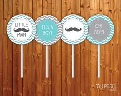 Mustache / Little Man Baby Shower Party - PRINTABLE Cupcake Toppers boy moustache chevron turquoise grey diy pdf