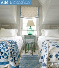 Twin beds with NON-matching quilts... I like it. Great when 2 kids share a room.