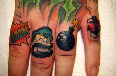 custom work finger tattoos