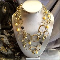 Doncaster Signed Necklace Gold Hoops w Pearls Designer Jewelry $85
