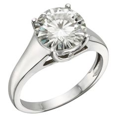 3.10 CT. T.W. Round Forever Brilliant Moissanite Solitaire Prong Set Ring in 14K White