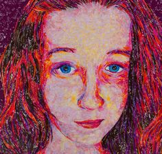 "​ ""Emma Daydreams"" 23.5""x23.5"" This is my daughter, Emma. The other artist in the family. Created with 100% recycled candy and tea wrappers. #art #recycle #recycledart #upcycle #tootsiepop #texture #candywrappers #lovemygirls #daughter #family #redhead #starburst #portrait #popart #mosaic #collage #originalart #fortworth #texas #artist #fortworthwhile #artlovers #artwork"