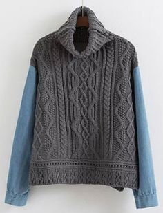 Campus Turtle Neck Cable Knit Sweater with Denim Long Sleeve 01cd88a28