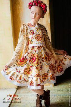"""Купить Платье """"Хохлома"""" - белый, цветочный, хохлома, русские узоры, русский стиль, народные мотивы"""