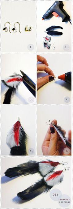 Comment faire des boucles d'oreilles plumes, fabriquer avec des plumes naturelles et créer, fabriquer ses boucles d'oreilles plumes bijoux originaux chics.