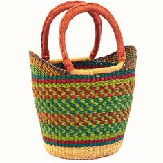 Mini Yikene Tote from Ghana, West Africa. Handwoven of dried native grasses. About 9 to 10 inches across. Perfect for yarn and needles for knitting. #Purses #FairTrade #Knitting