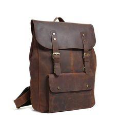 Handmade Leather Backpack Purse, Vintage Backpacks, School Backpacks Model Number: 9452 Dimensions: x x / x x Weight: / Hardware: Brass Hardware Shoulder Strap: Adjustable & Removable Color: Dark Brown Features: Genuine Full Grain Natural Insid Leather Backpack Purse, Leather Satchel, Leather Wallet, Leather Backpacks, Travel Backpack, Backpack Bags, Vintage Backpacks, Everyday Bag, Leather Men