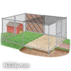 building an outdoor dog kennel, including expert advice on kennel size, fencing materials, flooring, the dog house and other topics.
