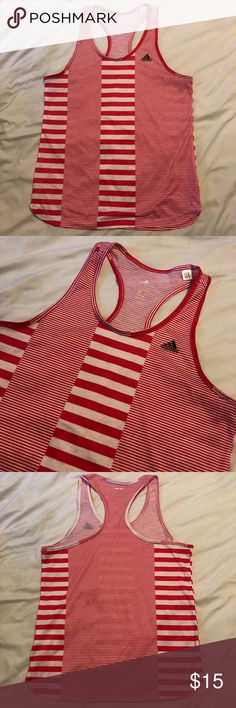 Adidas Racerback Tank With Stripes Size Large So cute and in perfect shape! Pink and white striped tank top with a great rounded him and a Racerback.   Size Large  ** This is a used item, it has been inspected for wear. Please check all photos and feel free to ask any questions. **  Bundle your likes for a private offer! Offers always welcome! adidas Tops Tank Tops
