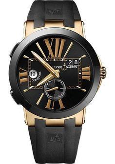 Ulysse Nardin - Executive Dual Time Rose Gold - Ceramic Bezel - Rubber Strap Watch 246-00-3/42