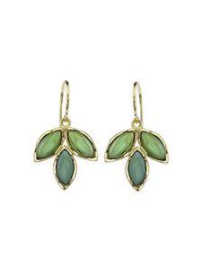 Triple Green Tourmaline Leaf Earrings