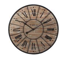 MAISONS DU MONDE Legno di abete grezzo sbiancato, stampa nera e cornice in metallo effetto ruggine per l'orologio Valmy, diametro 90 cm.