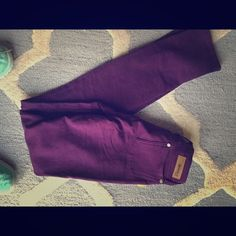 Purple skinny jeans Beverly purple skinny jeans with tags still on. Never been worn. Xsmall but fit like xxsmall Jeans Skinny