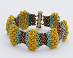 Items similar to Mustard Wavy Peyote Stitch Bracelet - Peyote Stitch - Beadwoven Cuff Bracelet - Miyuki Beads - Seed Beads - Beaded Bracelet on Etsy Seed Bead Art, Seed Bead Jewelry, Bead Jewellery, Seed Beads, Beaded Jewelry, Beaded Bracelets, Loom Beading, Necklaces, Bead Weaving