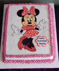 11x15 Chocolate Sheet Cake. Handpainted Minnie Mouse on Fondant