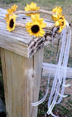 Silk Mini Sunflower Hair Wreath with natural twine and streaming sheer ribbon.
