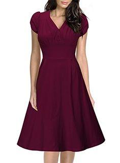 Women's Vintage Breast Dart V-Ncek A-line Skirts Big Swing Tea Dress (S-8/10, Purple) Miusol®