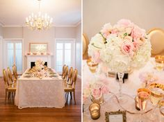 a little too traditional for me in style, but love the color theme, white, pink, and gold.