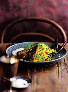 This Indian-inspired lamb steaks with tomato and pinach pilau makes for a quick and interesting midweek meal, that's low in saturated fat and salt. Easy Lamb Recipes, Indian Food Recipes, Soup Recipes, Ethnic Recipes, Fresh Coriander, Fresh Ginger, Turmeric Recipes, Blanched Almonds, Natural Yogurt