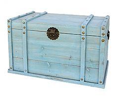 Houten kist groot, blauw