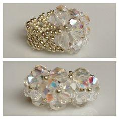 Swarovski Crystal AB Seed BeadRing - Yuki's Rings