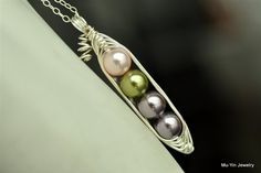 PEAS IN A POD necklace with Custom Swarovski pearl Colors  - vegan friendly! - by Mu-Yin Jewelry