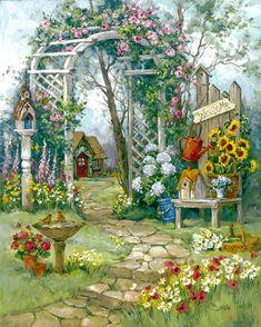 """Country Garden Arbor"" - painting by Barbara Mock, via Fulcrum Gallery Garden Drawing, Garden Painting, Beau Site, Garden Arbor, Garden Bed, Backyard Lighting, Garden Care, Organic Gardening, Gardening Hacks"