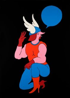 I love Dutch illustrator Parra's work, universe and colours. Weirdly erotic, two-dimensional and either monochromatic or in primary colours, it features curvaceous men and women with bird faces frustrated by or frustrating each other. It's just super-cool.