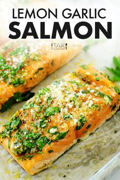 An easy Lemon Garlic Salmon recipe with a quick-fix lemon garlic oil that takes only five minutes to prep and comes packed with flavor! It yields perfectly juicy, flaky salmon fillets and is elegant to serve for entertaining purposes, yet quick and easy enough to whip up any night of the week. Best Fish Recipes, Salmon Recipes, Seafood Recipes, Easy Recipes, Quick Dinner Recipes, Quick Meals, Seafood Dinner, Dinner Menu, School Lunch Recipes