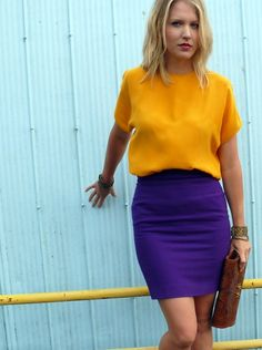 color block: silk top + pencil skirt
