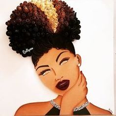 Black Love Art, Black Girl Art, Black Is Beautiful, Beautiful Artwork, Art Girl, Natural Hair Art, Natural Hair Styles, Black Art Painting, African Crafts